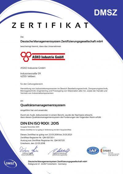 ASKO Industrie GmbH Zertifikat